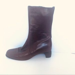COLE HAAN CHOCOLATE BROWN LEATHER CALF BOOTS